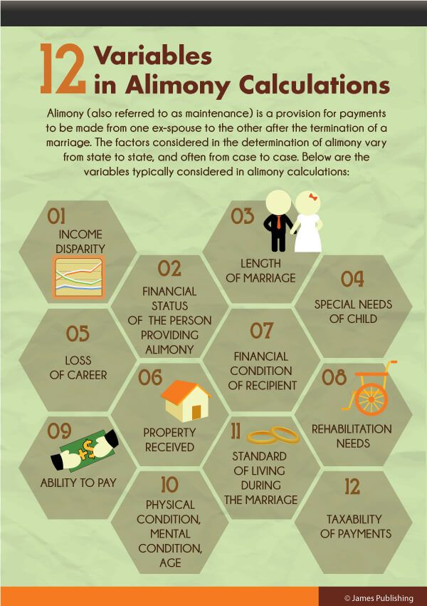 12 variables in alimony calculations